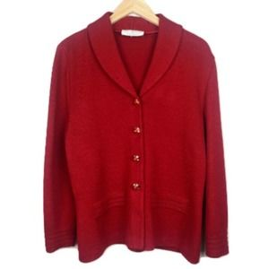 Vintage St. John Red Button Knit Cardigan